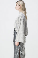 shakuhachi - TERRY WIDE SLEEVE SWEATER GREY - 4