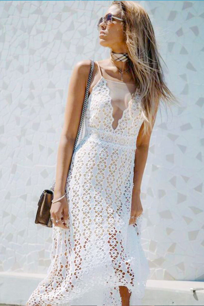 FLOWER POWER MIDI SUN DRESS - WHITE