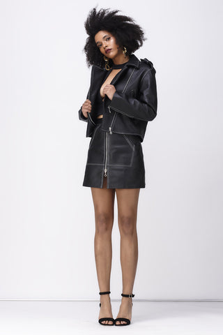 BABY IT'S ME LEATHER SKIRT - BLACK