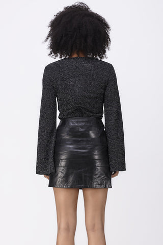 REFLECTIONS FLARED SLEEVE TOP - BLACK GLITTER