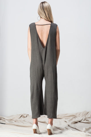shakuhachi - V NECK DROP CROTCH JUMPSUIT DARK GREEN GREY - 3