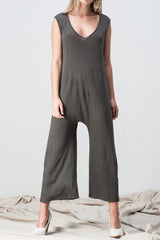 shakuhachi - V NECK DROP CROTCH JUMPSUIT DARK GREEN GREY - 2