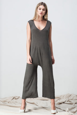 shakuhachi - V NECK DROP CROTCH JUMPSUIT DARK GREEN GREY - 1