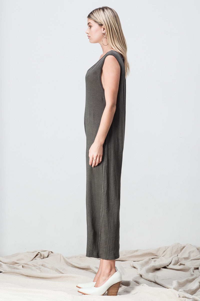 shakuhachi - V NECK DROP CROTCH JUMPSUIT DARK GREEN GREY - 4