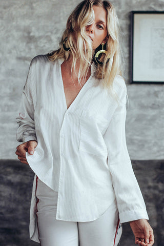 SHEER STRIPE ASYMETRICAL SHIRT - WHITE - Shakuhachi