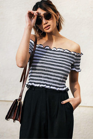 STRIPE SMOCKED CROP TOP - WHITE BLACK - Shakuhachi