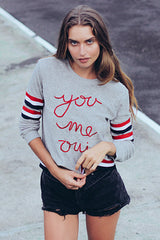 YOU ME OUI EMBROIDERED SWEAT TOP