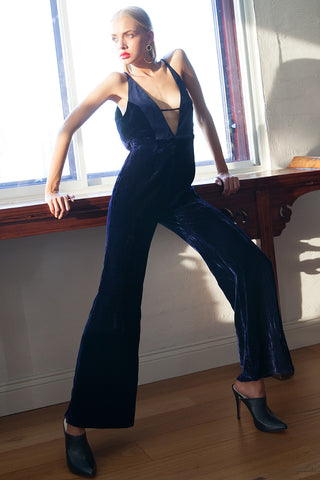ALL NIGHT DEEP V JUMPSUIT - BLACK