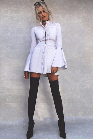 CONTRAST STITCH FLARE SLEEVE SHIRT DRESS WHITE