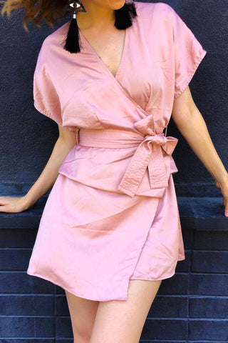 ISABELLA MINI WRAP DRESS - PINK