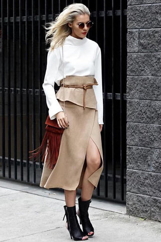 OBHI WRAP SKIRT BEIGE
