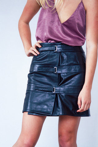 OUT OF AFRIKA TRIPLE STRAP LEATHER SKIRT BLACK