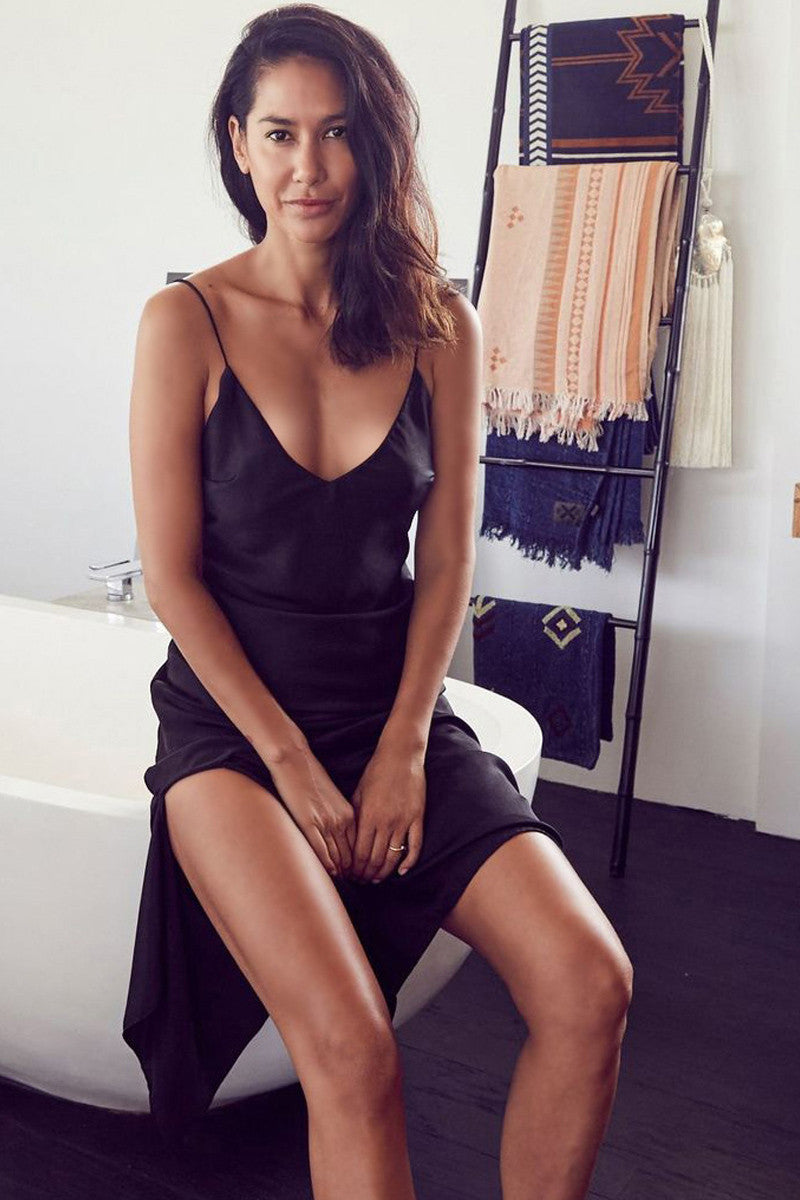 SATIN DRAPE HEM CAMI DRESS - BLACK