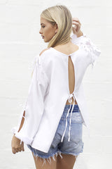shakuhachi - ALL TIED UP FLARE TOP WHITE - 3