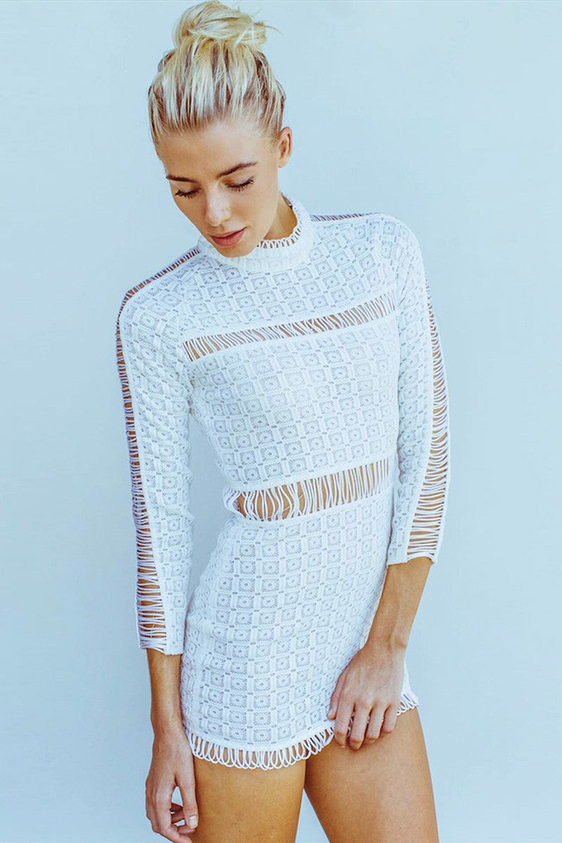 shakuhachi - CUT OUT LACE PANELLED MINI WHITE - 1