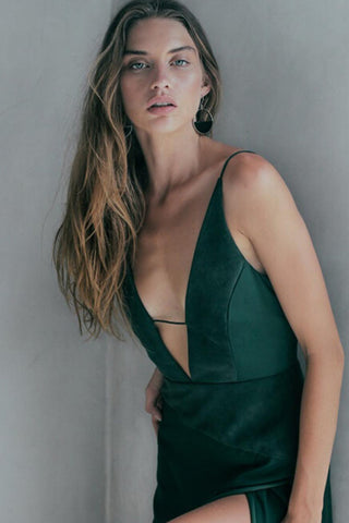 DEEP V NECK CAMI SPLIT DRESS GREEN