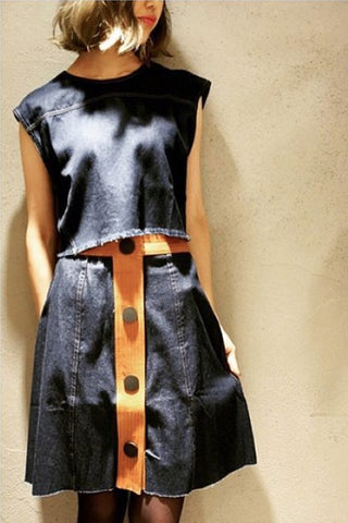 DENIM BOXY CROP TOP - Shakuhachi - 1