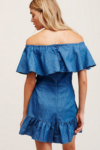 GENIE OFF THE SHOULDER FRILL PLAYSUIT - Shakuhachi - 2