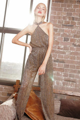 GOLD DUST HALTER JUMPSUIT