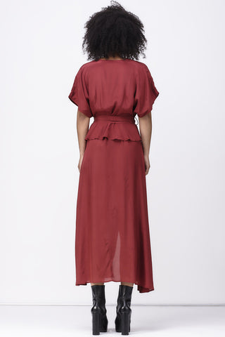 shakuhachi - ISABELLE WRAP DRESS - BURGUNDY - 3