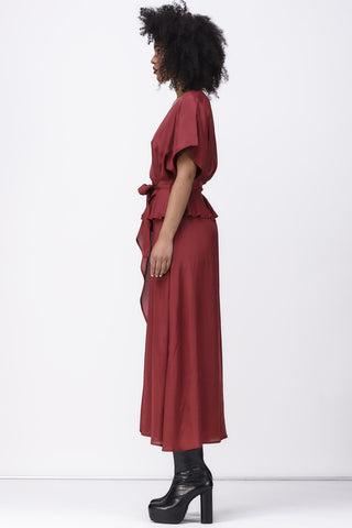shakuhachi - ISABELLE WRAP DRESS - BURGUNDY - 4