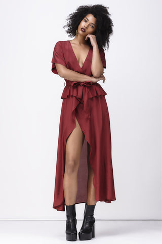 ISABELLA WRAP DRESS - BURGUNDY