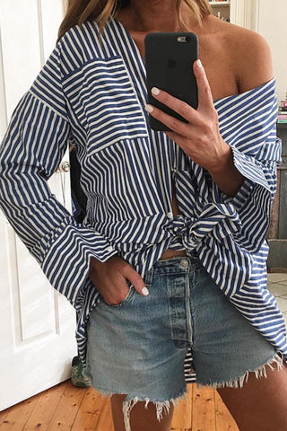 JAIL BIRD STRIPE SHIRT - WHITE NAVY