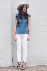 shakuhachi - OPEN BACK RUFFLE TOP DENIM - 7