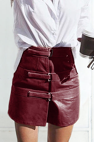 OUT OF AFRIKA TRIPLE STRAP LEATHER SKIRT BURGUNDY