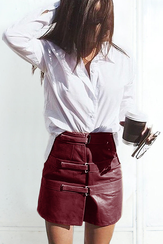 shakuhachi - OUT OF AFRIKA TRIPLE STRAP LEATHER SKIRT BURGUNDY - 1