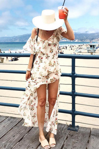 WHITE POSIE OFF SHOULDER CAMI SPLIT DRESS