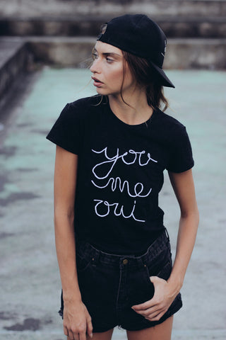 YOU ME OUI EMBROIDERED SHIRT - BLACK - Shakuhachi