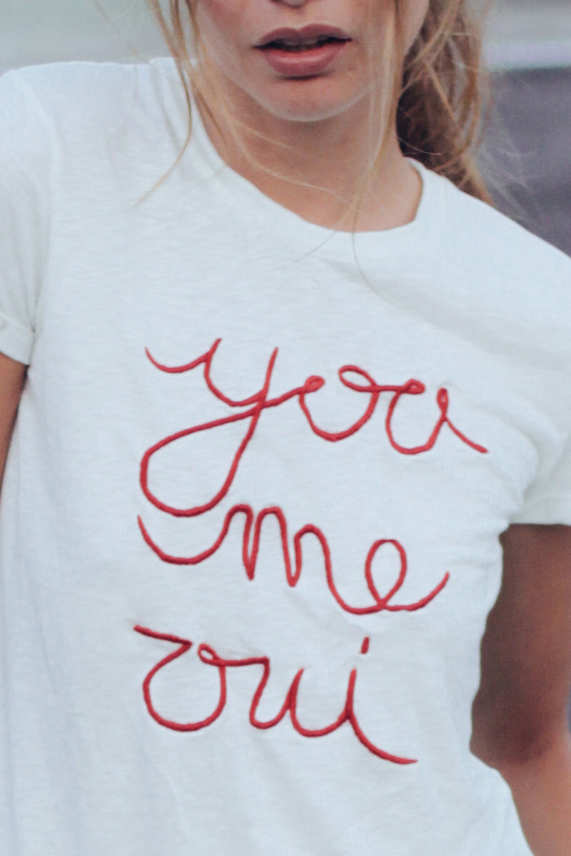 YOU ME OUI EMBROIDERED SHIRT - WHITE