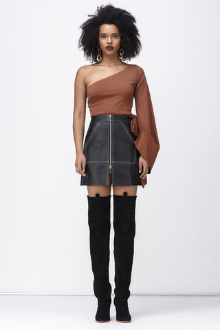 FINE AND MELLOW SIDE TIE TOP - BROWN