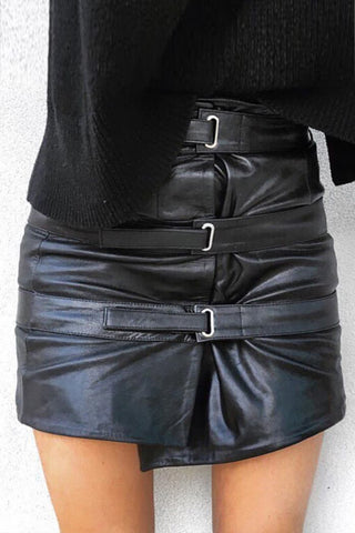 OUT OF AFRIKA TRIPLE STRAP LEATHER SKIRT BLACK - Shakuhachi