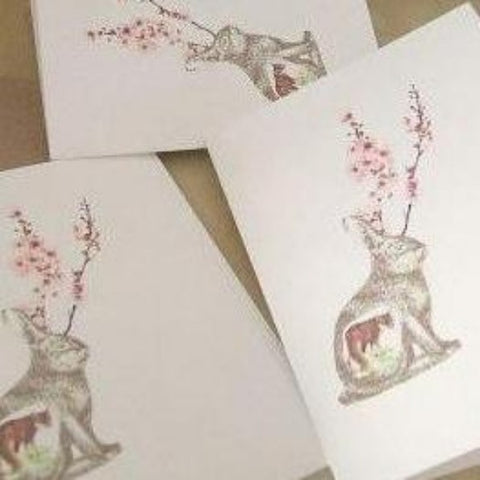 strange seed notecards, set of 5 (jackalope)