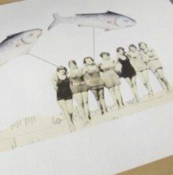 shipreck series collage print: fish