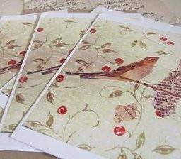 postcards / set of 5 / cherry bird