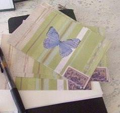 postcards / set of 5 / blue butterfly