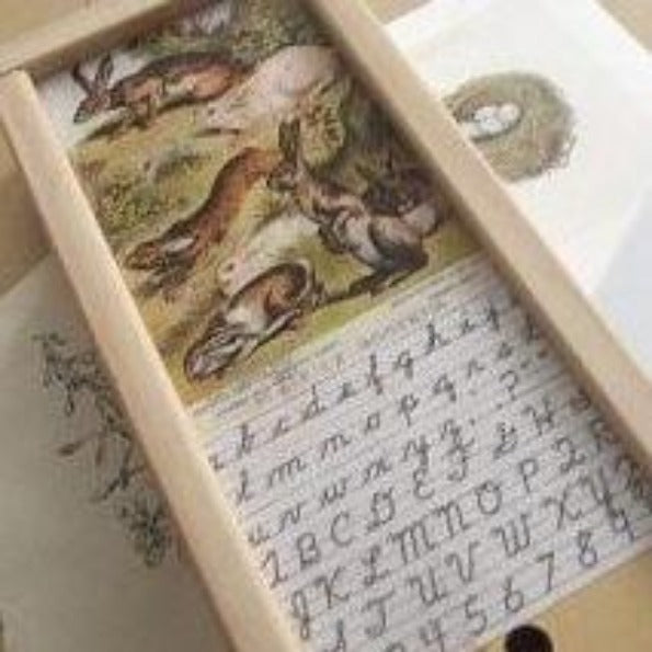 rabbit wooden pencil box