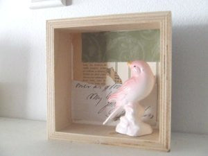 pink bird shadowbox / assemblage