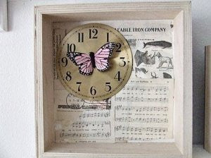 pink butterfly  shadowbox / assemblage