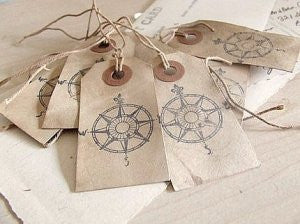 shabby gift tags: compass