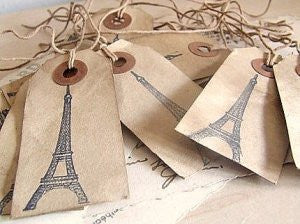 shabby gift tags: eiffel tower