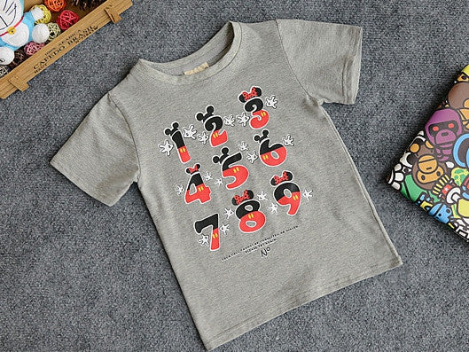 (AI-003) Mickey - number T-shirt (Grey)