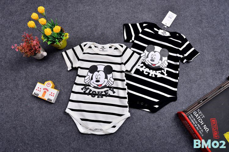 (BM02B) Family Tee - Mickey Stripe Black