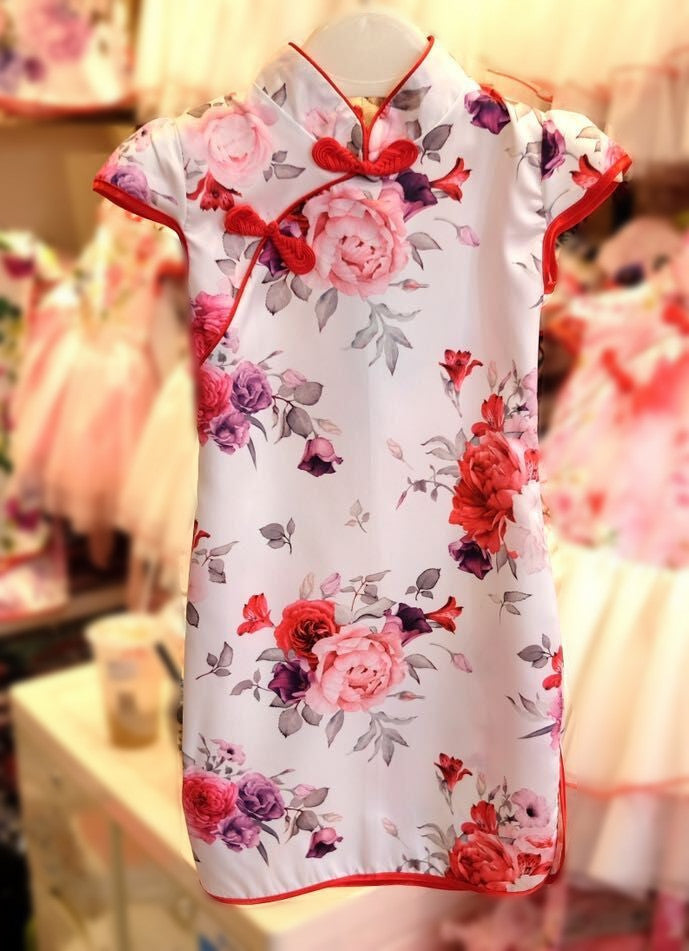 (CF801) Cheongsam - Flower White