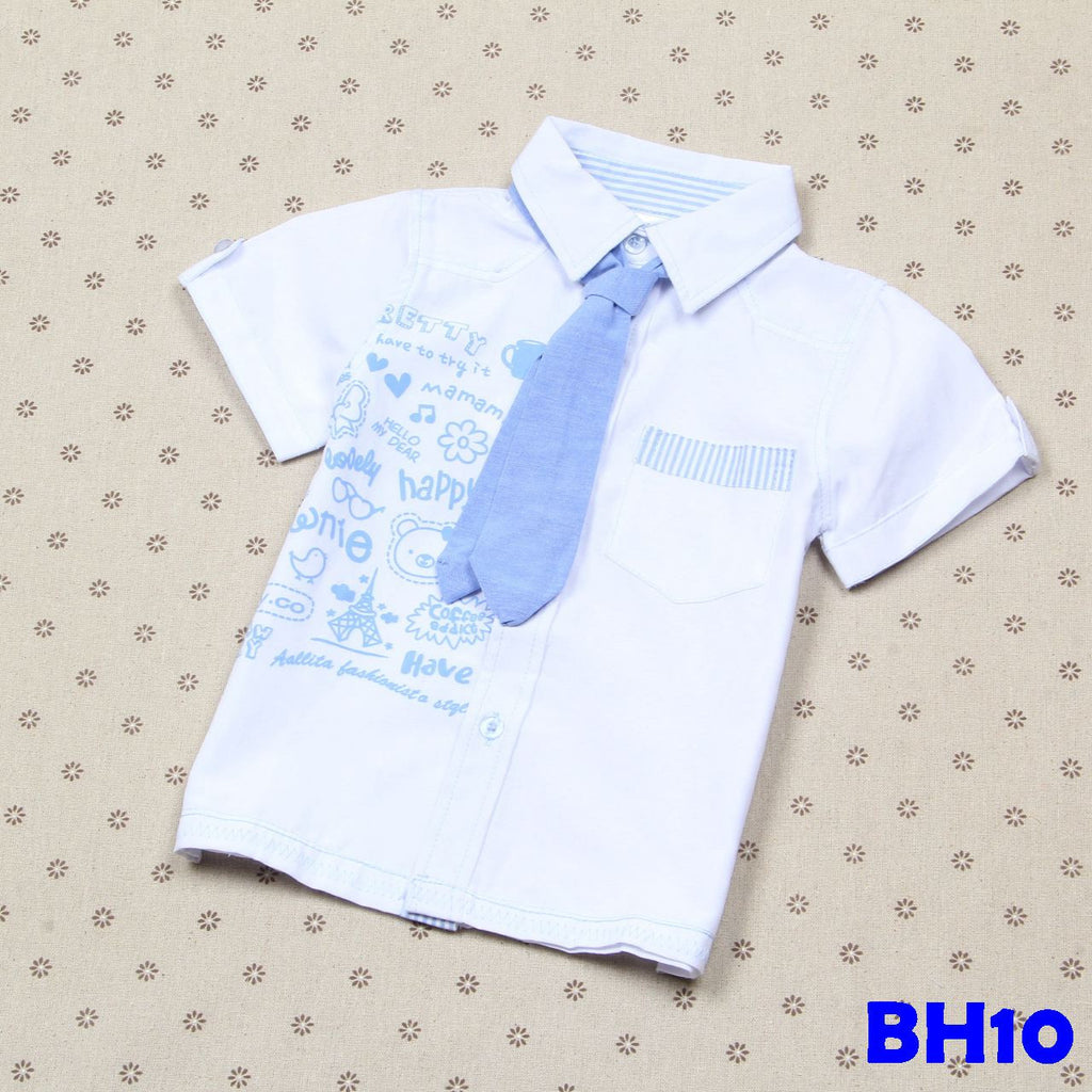(BH10) Shirt - Blue with Tie