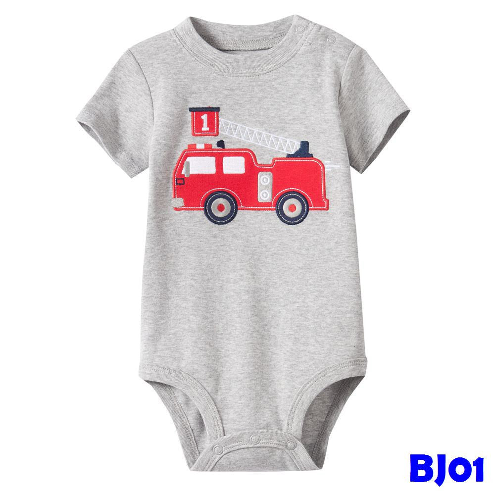 (BJ01) Romper - Fire Engine Grey
