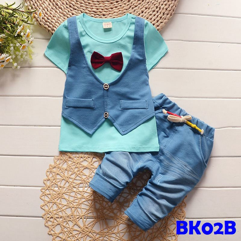 (BK02B) Set - Vest and Bowtie Blue